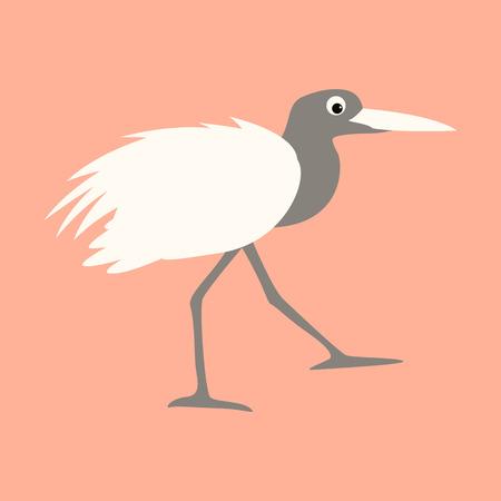 cartoon heron ,vector illustration, profile view  イラスト・ベクター素材