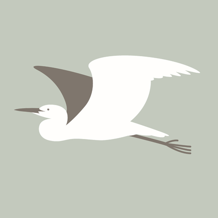 flying  heron ,vector illustration, profile view ,flat