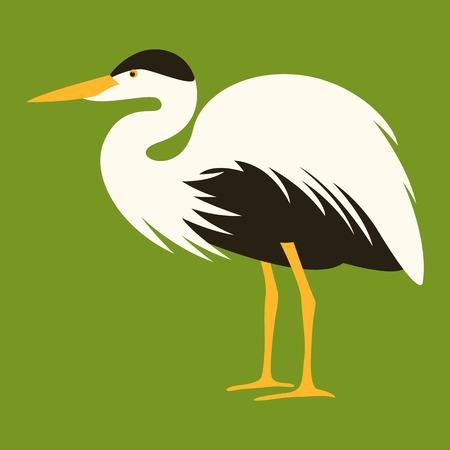 cartoon heron ,vector illustration, profile view Ilustração