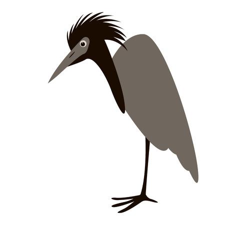 cartoon heron ,vector illustration, profile view Illustration
