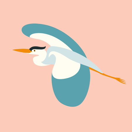 blue  heron flying , vector illustration , flat style ,profile view