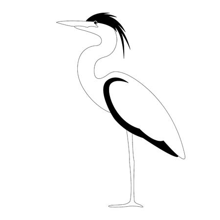 heron walking , vector illustration,,profile view, lining draw Ilustração