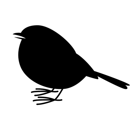 robin bird, vector illustration ,  black silhouette , profile view