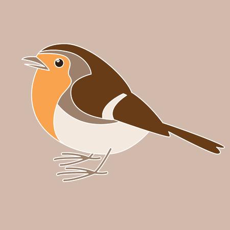 robin bird, vector illustration , flat style, profile view