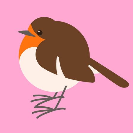 robin bird, vector illustration , flat style ,profile view