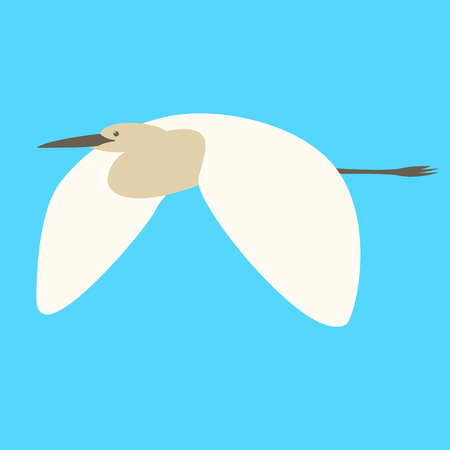 heron flying  vector illustration,  flat style , profile view
