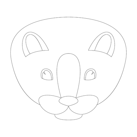 cartoon mink face vector illustration, lining draw , front view Ilustração