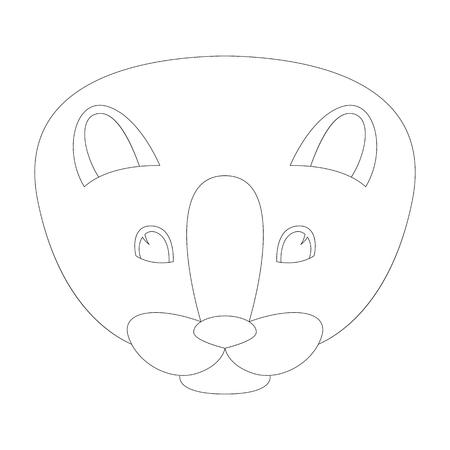 cartoon mink face vector illustration, lining draw , front view Illustration