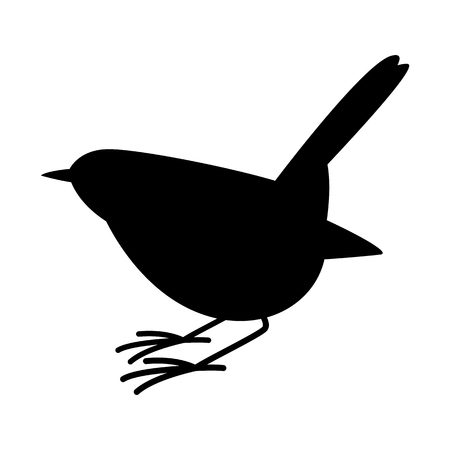 robin bird vector illustration,  black silhouette,profile view