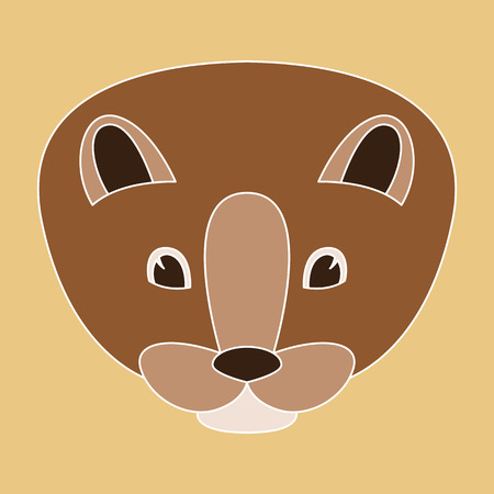 cartoon mink face vector illustration, flat style, front view