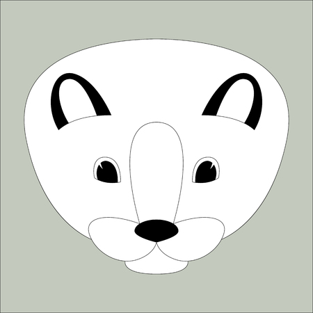 cartoon mink face vector illustration, lining draw , front view  イラスト・ベクター素材