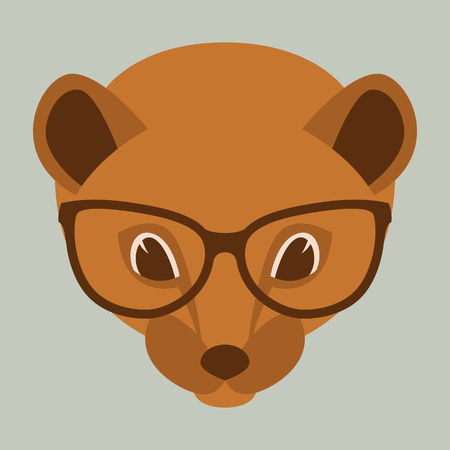 otter face in glasses, vector illustration front view ,flat style Ilustração