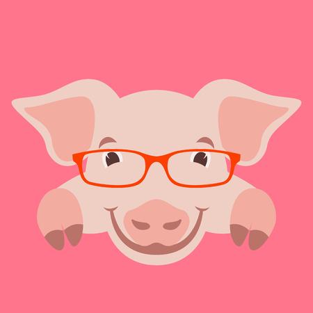 cartoon pig face in glasses, vector illustration front view Ilustração