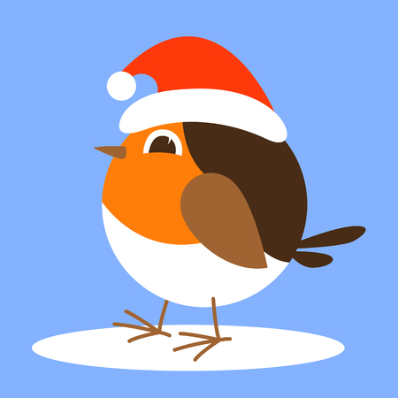 cartoon robin bird in santa hat,vector illustration ,flat style Иллюстрация
