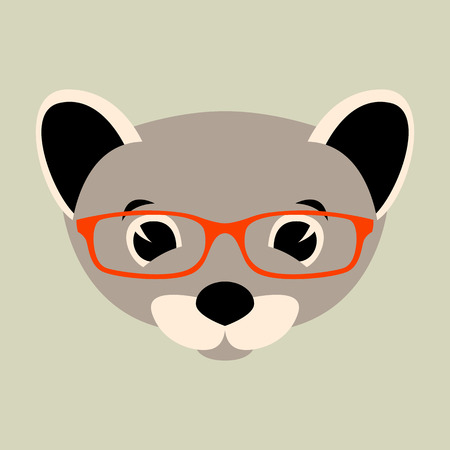 weasel face in glasses, vector illustration front view ,flat style Illustration