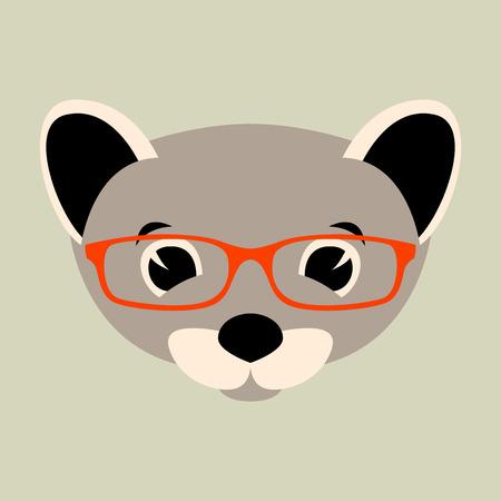 weasel face in glasses, vector illustration front view ,flat style Ilustração