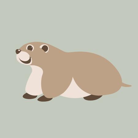 cartoon marmot ,vector illustration ,flat style, profile view