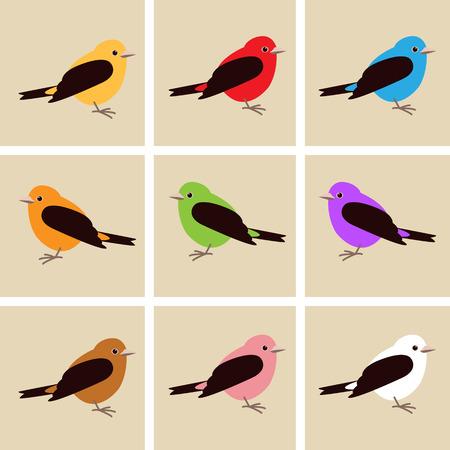 cartoon bird ,  vector illustration , flat style, set Illustration