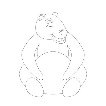 cartoon marmot ,vector illustration ,lining draw,  front view
