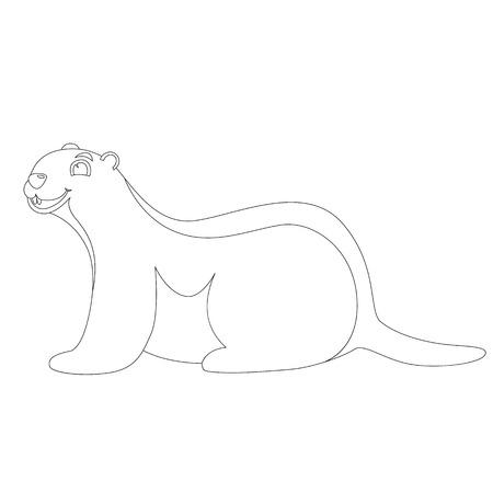 cartoon marmot ,vector illustration , lining draw , profile view