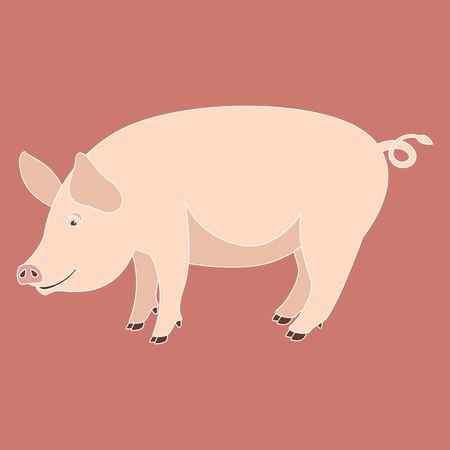 cartoon pig , vector illustration ,flat style ,profile view  イラスト・ベクター素材