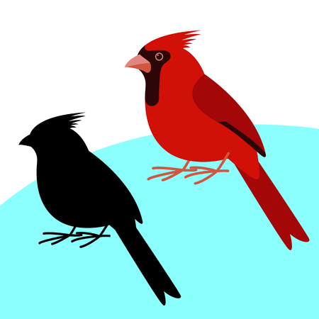 cardinal bird , vector illustration , flat style, black silhouette set Иллюстрация