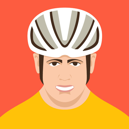 cyclist wearing a helmet , vector illustration , flat style ,front view