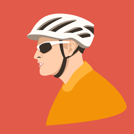 cyclist wearing a helmet , vector illustration , flat style , profile view