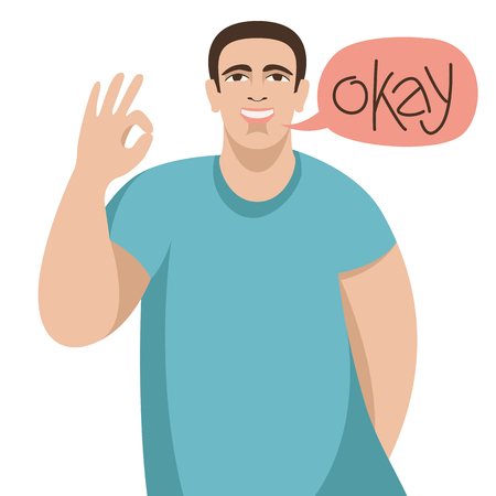 smiling young man with okay gesture, vector illustration , flat style