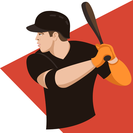 baseball player, vector illustration , flat style ,profile view