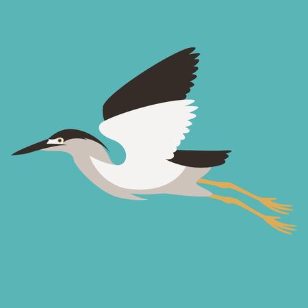 heron in flight ,vector illustration , flat style ,profile view