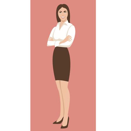 smiling business young woman , vector illustration ,flat style Illusztráció
