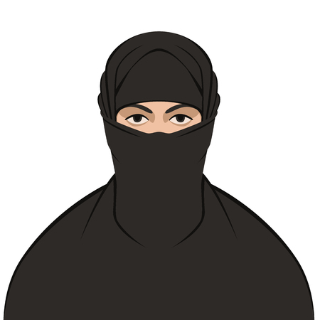 Muslim veiled ,vector illustration ,flat style , front view