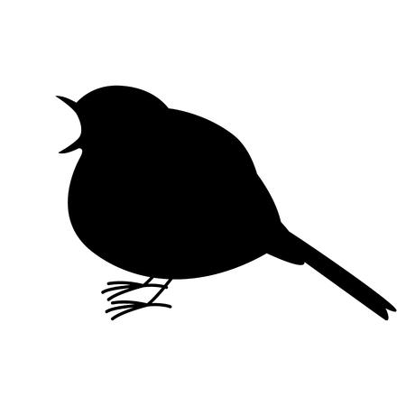 robin bird ,vector illustration ,  black silhouette ,profile view