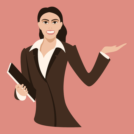 smiling business young woman , vector illustration ,flat style Ilustração
