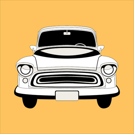 vintage car ,vector illustration , lining draw , front view