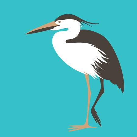 heron standing, vector illustration, flat style ,profile