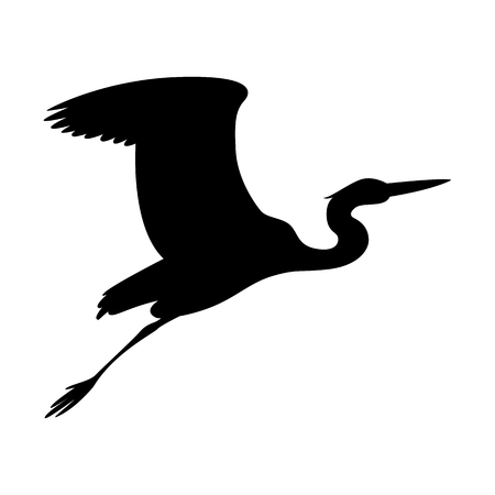 heron  flying, vector illustration ,  black silhouette , profile view Vettoriali
