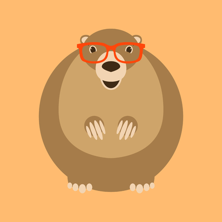 marmot  in glasses ,vector illustration , flat style ,front view