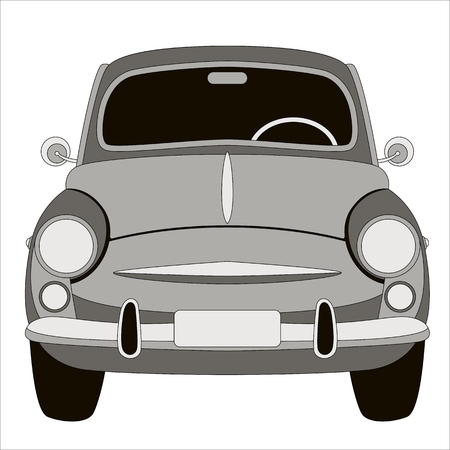 old vintage car ,vector illustration ,flat style ,front side