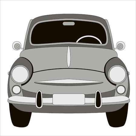 old vintage car ,vector illustration ,flat style ,front side