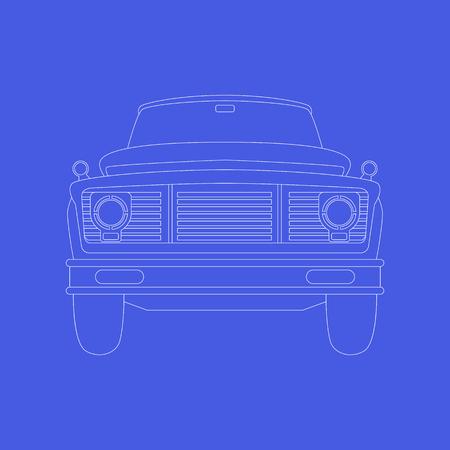 old vintage car ,vector illustration ,lining draw  ,front side Ilustração