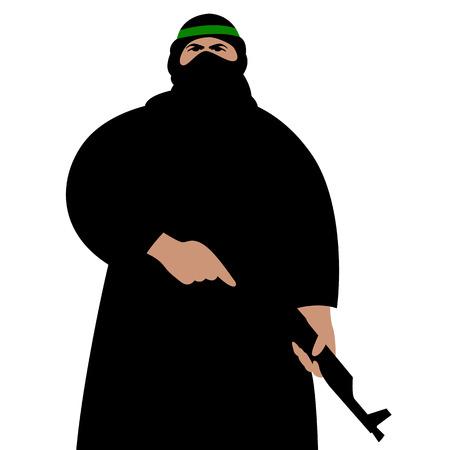 terrorista con armi, illustrazione vettoriale, stile piatto, vista frontale