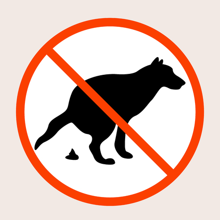 No dog poop vector sign, black silhouette
