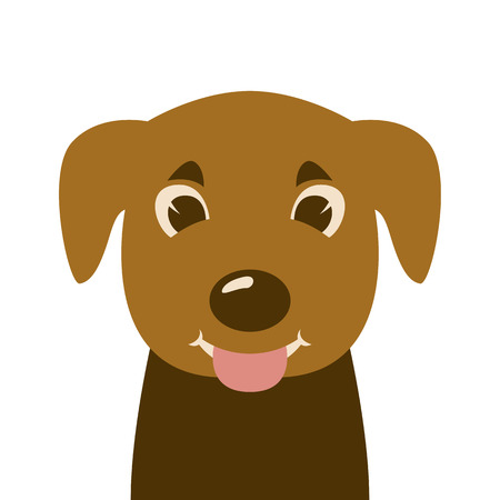 cartoon puppy  face , vector illustration ,flat style, front view