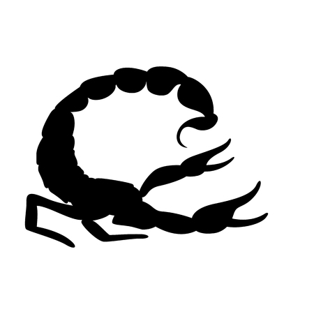 Scorpio vector illustration, black silhouette ,profile side Vectores