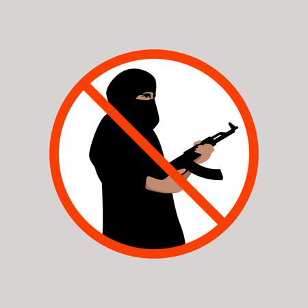 sign no terrorism , vector illustration ,flat style
