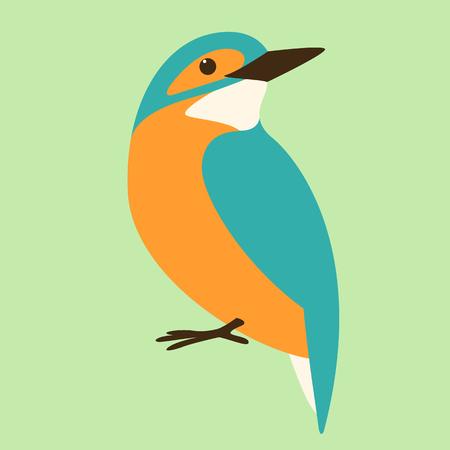 bird kingfisher, vector illustration ,flat style ,profile