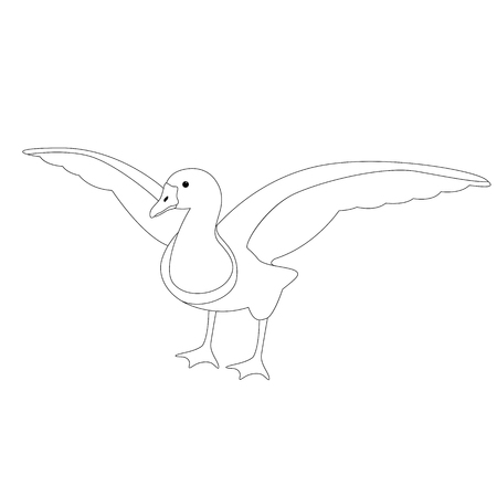 goose  vector illustration ,  lining draw  ,front side