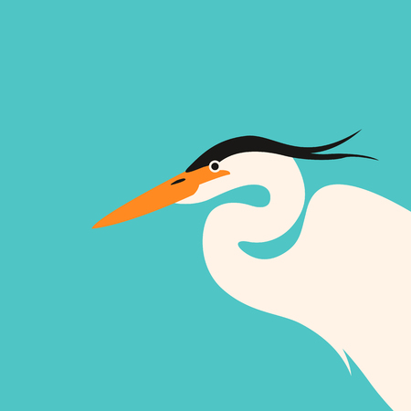 heron head , vector illustration , flat style, profile view